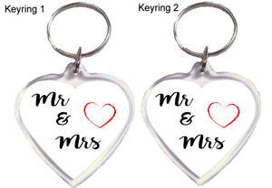 Mr & Mrs 2 x  Heart Acrylic Keyring set Family Wedding Engagement Valentines