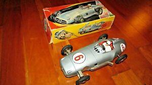 """JNF tin toy race car 10"""" 1954 Mercedes Benz W196 W. Germany 1950's friction moto"""