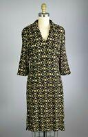 J. MCLAUGHLIN Horsebit Print Stretch Knit Black Equestrian Sheath Dress Size XS