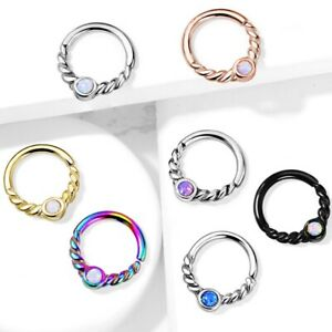 TWISTED OPALESCENT CENTER STEEL CARTLAGE/EAR/SEPTUM PIERCING RING HOOP 18-16G