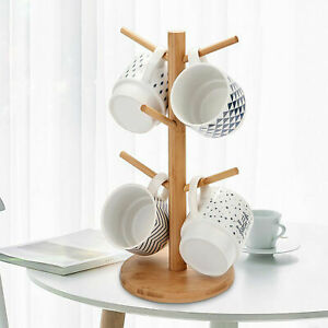 Natural Beech Wooden 6 Cup Mug Tree Stand Kitchen Mugs Cups Holder Storage Rack