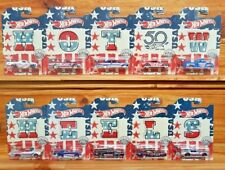 Hot Wheels 2018 STARS & STRIPES SERIES Complete Set of 10 (Varying wear)