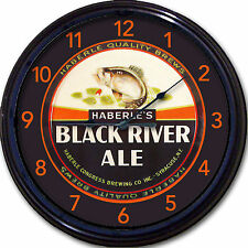 Haberle Black River Syracuse NY Ale Beer Tray Wall Clock Congress Brewing Co