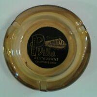 Vintage Ashtray Amber Glass Historic Restaurant PRESCUTTI'S VILLA Columbus Ohio