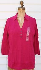 Tommy Hilfiger~NWT~FUSCHIA collared V neck cable sweater~1X 14W 16W R$89