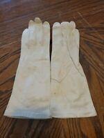 Vintage Van Raalte Silk Lined White Kid Gloves Womens 7 (cb5)
