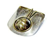 Bijou argent 800 pendentif broche art déco métaux divers laiton et poinçon crabe
