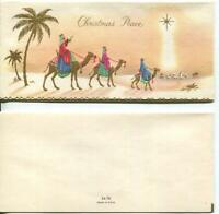 VINTAGE CHRISTMAS GOLD EMBOSSED CAMELS PALM TREES MAGI ISRAEL STAR GREETING CARD