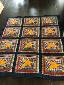 """Homemade Red, Blue and Gold Stars Log Cabin Rustic Farmhouse Quilt-52"""" x 57"""""""