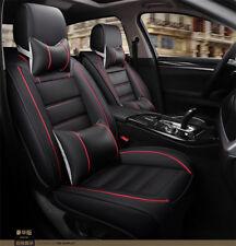 Universal Luxus Schwarz Leder Auto Sitzbezüge Schonbezüge Set mit Nackenkissen