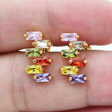 18K Yellow Gold Filled Irregular Rainbow Rectangle Topaz Women Stud Earrings
