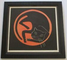 PONCE DE  LEON? SIGNED ETCHING LARGE CAT KITTEN ABSTRACT MODERNISM POP VINTAGE