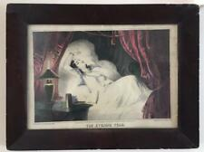 Antique 1846 EVENING STAR Framed Lithograph Print Sarony and Major Woman in Bed