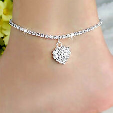 Diamante Simple Love 925 Sterling Silver Foot Anklet Chain Ankle Bracelets Charm