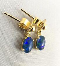 Small Oval Design Triplet Opal Drop Dangle Earrings 18ct Gold Plated w Cert