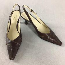 4fad6e586c5 Anne Klein Dress Shoe Aksportella Slingback Heels Pointed Toe Brown Leather  8 M