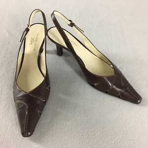 Anne Klein Dress Shoe Aksportella Slingback Heels Pointed Toe Brown Leather 8 M