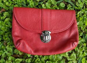 MARC JACOBS Red Soft Textured Leather Envelope Pouch Clutch Small