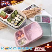 Lunch Box Plastic Containers 3-Compartment School Students Lunch Food Boxes