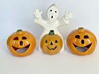 2 VINTAGE UPCO USA Pottery Light JACK-O-LANTERN Pumpkin and ghost ceramic
