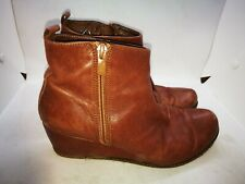 Gaimo brown leather wedged ankle boots size uk 4