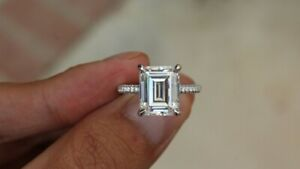 6Ct White Emerald Cut Diamond Engagement Wedding Ring Solid 925 Sterling Silver