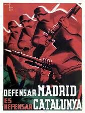 WAR PROPAGANDA SPANISH CIVIL MADRID CATALONIA SPAIN ANTI FASCIST POSTER 2794PY