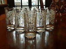 Vintage Highball Tumblers Frosted White Leaves & Grapes w/ Gold Trim Set of 6