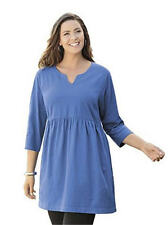 2X 20/22 NWT ULLA POPKEN NOTCH NECK EMPIRE WAIST LONG TUNIC OASIS RICH BLUE $59