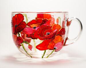 Red Poppies Big Coffee Mug Personalized Botanical Gift Women Grandma Wildflowers