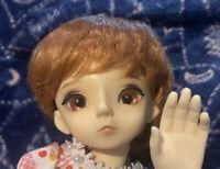 BJD 1/6 Orange Red Wig 6-7 YOSD Bangs Unisex Male Female Short Cut Doll Hair
