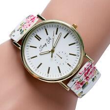Women Simple Black/White Floral Flower Elastic Band Quartz Dress Wrist Watch