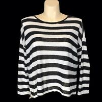 Eileen Fisher Med Top Organic Linen White Black Stripe Knit Slouchy High Low LN