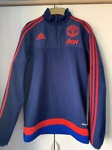 Manchester United Adidas Half Zip Navy Hoodie Size S