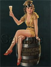 VINTAGE CAMDEN LAGER GERMAN BEER PIN UP GIRL AD WOOD BARREL CANVAS ART PRINT