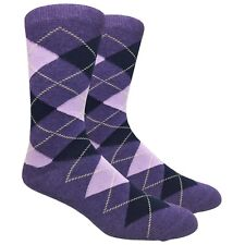 Fine Fit Men's Argyle Cotton Dress Socks Diamond Pattern Assorted Colors