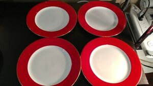 4  Crate & Barrel White Dinner Plate/ Red band with Gold Trim 10.25 in dia