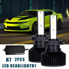 2-Sides H7 LED Headlight Kit Fog Bulbs High Low Beam 6000K Lamp with Free Canbus