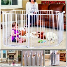 Large Metal Fence Extra Wide Gate Kids Baby Infant Pet Playpen Panel Cage Safety