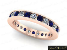 1.95Ct Sapphire Diamond Channel Milgrain Eternity Band Ring 18k Gold AAA H SI2