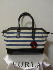 Authentic Furla Canvas Fabric Blue Stripes Satchel Handbag Italy