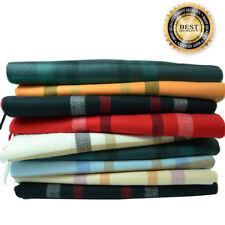 100%CASHMERE Classic Scarf Colored tartan stripe Plaid Check Made In SCOTLAND