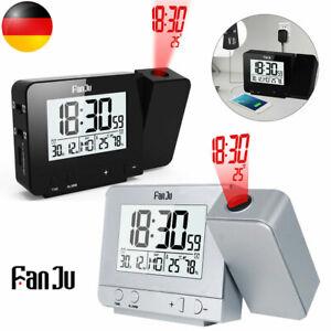 DE Digital Wecker LED Projektionswecker Temperatur Alarm USB Projektor Funkuhr