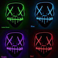 "Light Up Mask ""Stitches"" LED Costume Mask Christmas Rave Purge Dance Hip Hop"