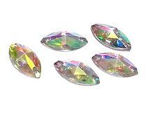 50pcs AB CLEAR MARQUIS 12 x 6mm RESIN Sew On DIAMANTE Rhinestone Crystal Gems