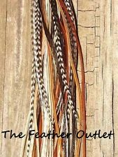 Lot 40 Grizzly Solid Feathers Hair Extensions saddle long skinny real Natural NB