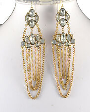 "4.5"" GOLD TONE  MULTI-DROP CHAIN AND CLEAR FACETED CRYSTAL EARRINGS"