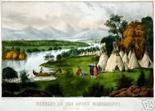 An Indian Village Vintage Landscape By Currier&Ives Print
