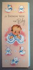 Unused new Baby Birthday wish vintage greeting card  *T