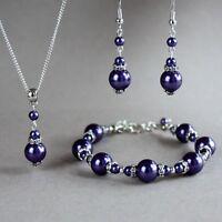 Silver purple pearl necklace bracelet earrings wedding bridal jewellery set